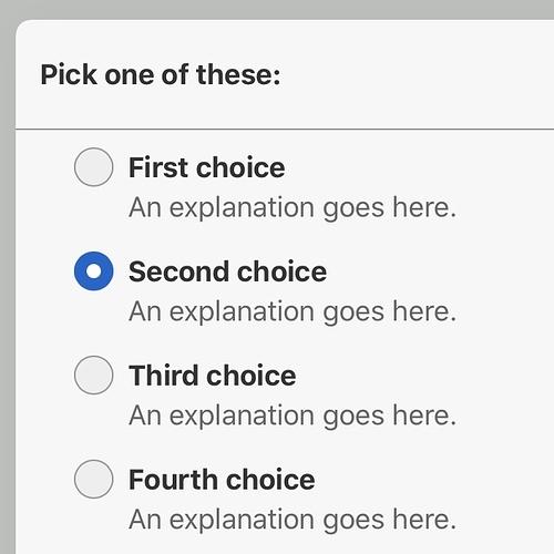 Single selection mode