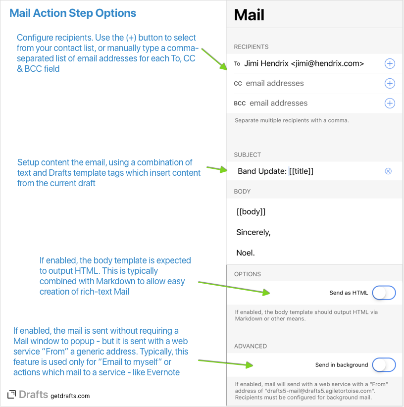Sending Mail with Drafts - Integration Guides - Drafts Community